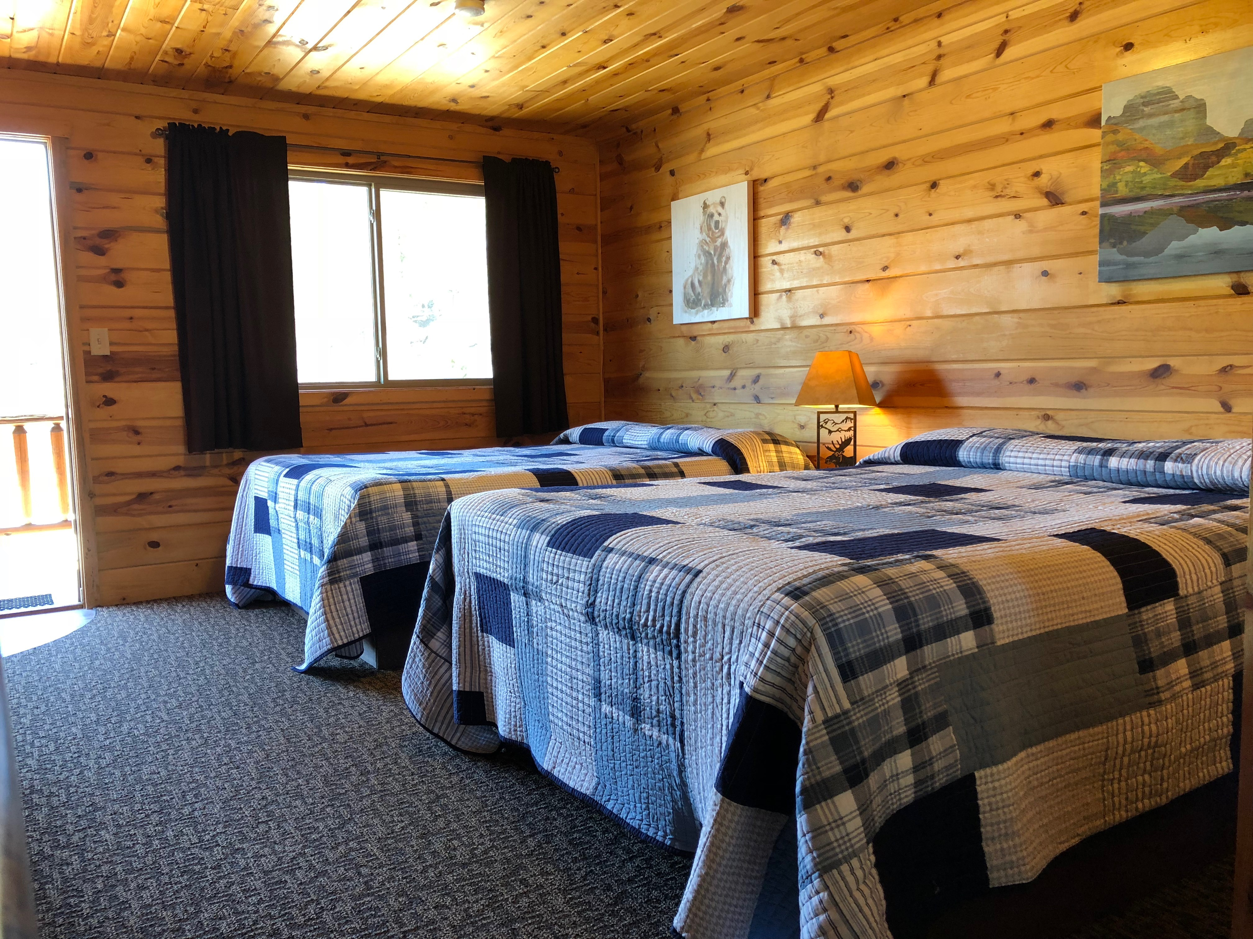 interior of double bed lodge